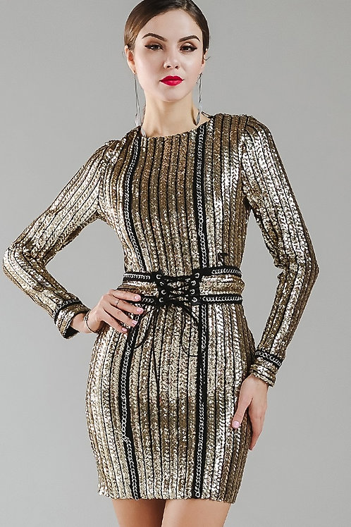 Gold Chain Sequin Dress AVICII SWISS Evelyn Belluci Collaboration