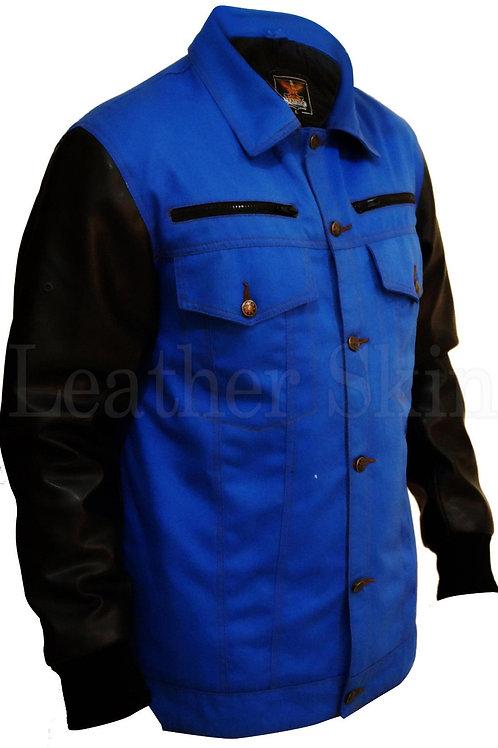 Men Denim Blue Jacket With Black Sleeves