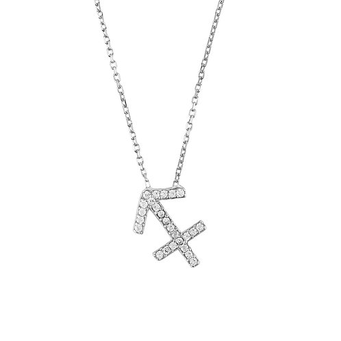 Zodiac Star Sign Pendant Necklace Silver Sagittarius