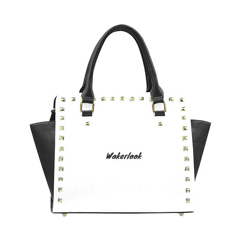 White Rivet Shoulder Wakerlook  Handbag