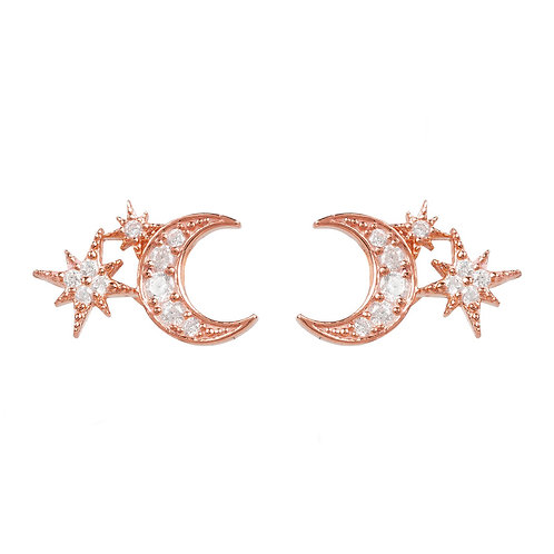 Moon and Starburst Small Stud Earrings Rosegold
