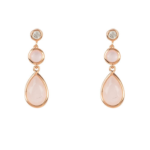 Tuscany Gemstone Drop Earring Rose Gold Rose Quartz
