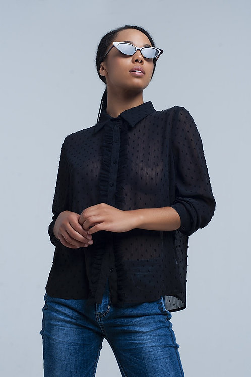 Black Transparent Shirt With Embroidered Polka Dots Q2- AVICII SWISS COLLAB