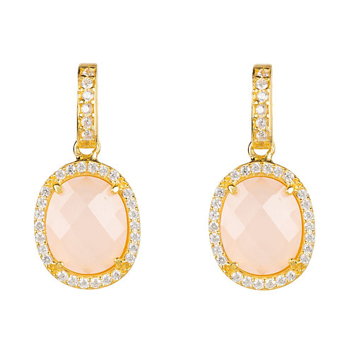 Beatrice Oval Gemstone Drop Earrings Gold Rose Quartz