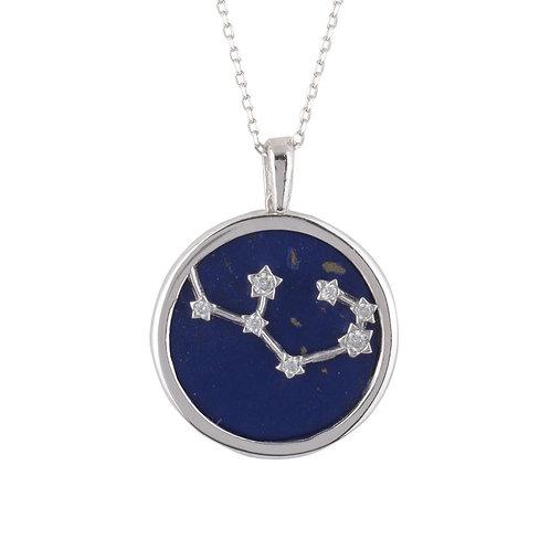 Zodiac Lapis Lazuli Gemstone Star Constellation Pendant Necklace Silver