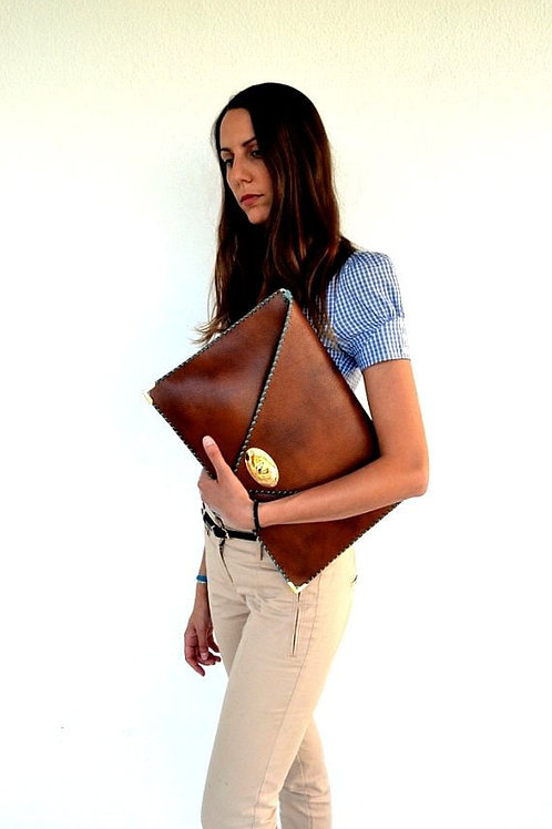 Brown leather clutch  Camel leather bag  Women business bag  Leather file folde