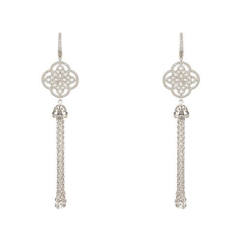 Celtic Knot Tassel Earrings Silver