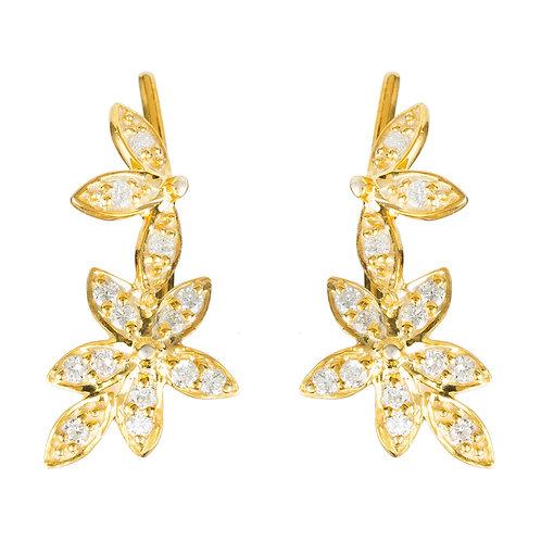 Diamond Flowers Ear Climber Gold