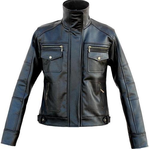 Men Long Collar Black Leather Jacket
