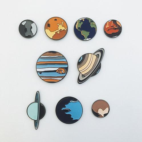 Solar System Planet Enamel Pin Set of 9
