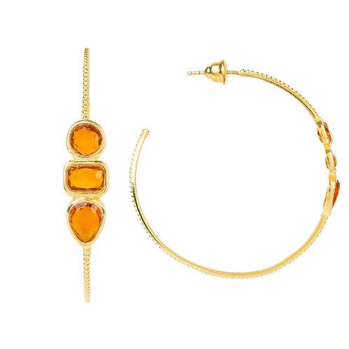 Venice Gemstone Hoop Earring Gold Citrine