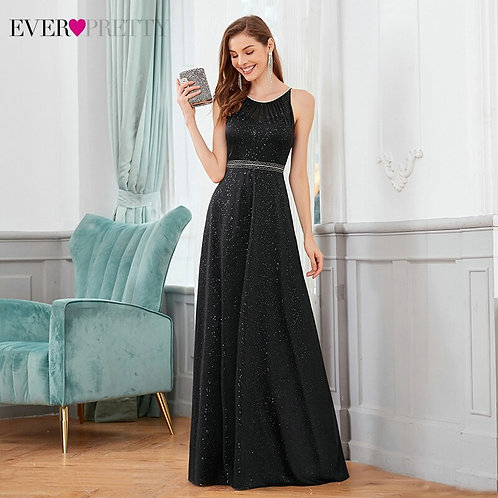 Black Evening Dresses A-Line O-Neck Sleeveless Beaded Spaghetti Straps 2020