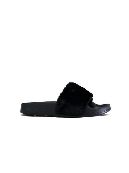 Basic Fur Slider Black