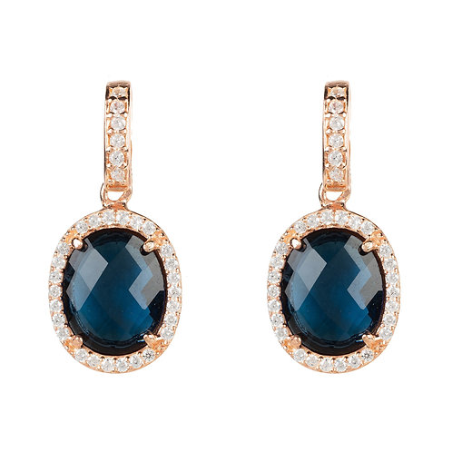 Beatrice Oval Gemstone Drop Earring Rose Gold Sapphire Hydro