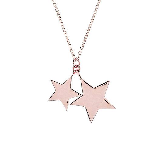 Cosmic Double Star Pendant Necklace