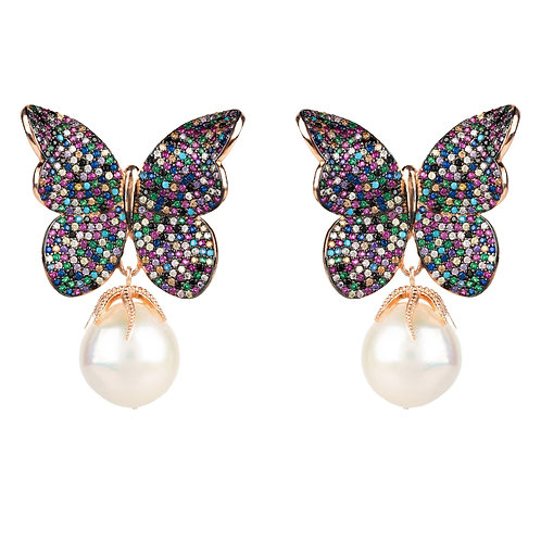 Baroque Pearl Multi Coloured Butterfly Earrings Rosegold