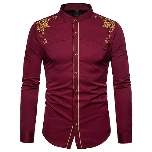 Gold Embroidery Men Chinese Shirt Mandarin Collar Shirt
