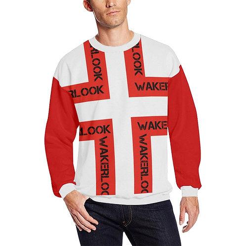 Men's Wakerlook Fashion Red and Black Fuzzy Sweatshirt