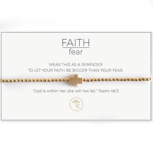 Cross Stretch Bracelet-Gold/Gold