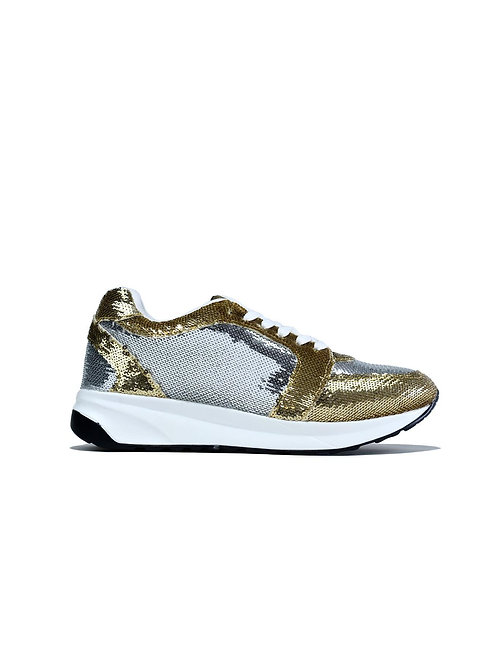 Curved Sole Trainer Silver Gold