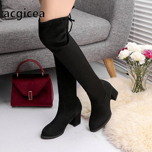 2020 Fashion Women Boots Spring Winter Over the Knee Heels Quality Suede
