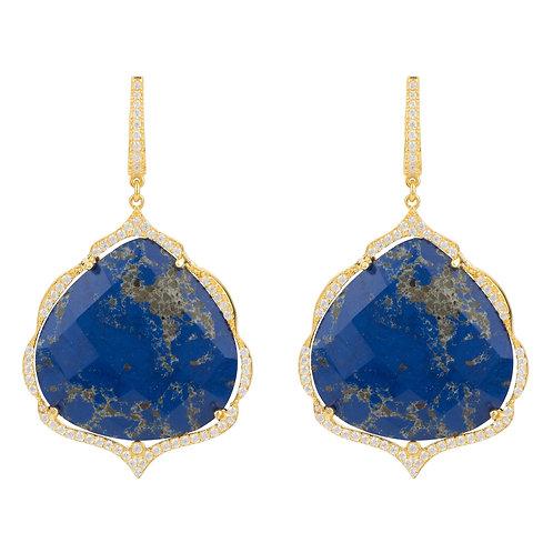 Antoinette Earrings Gold Blue Lapis Lazuli