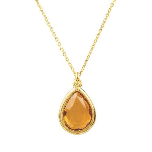 Pisa Mini Teardrop Necklace Gold Citrine