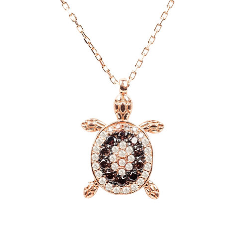 Turtle Chocolate Pendant Necklace Pink Rose Gold