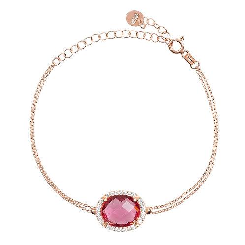 Beatrice Oval Gemstone Bracelet Rose Gold Pink Tourmaline