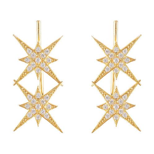 Star Burst Double Ear Climber Pair Gold
