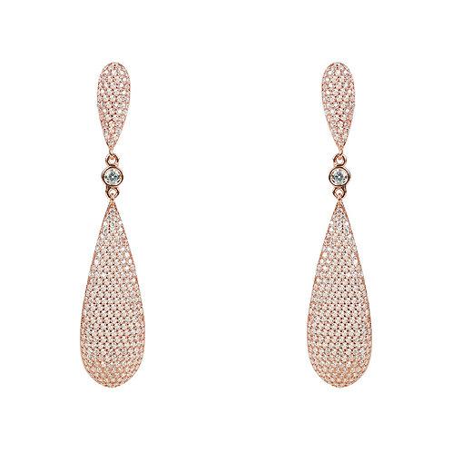Coco Long Drop Earrings Rosegold