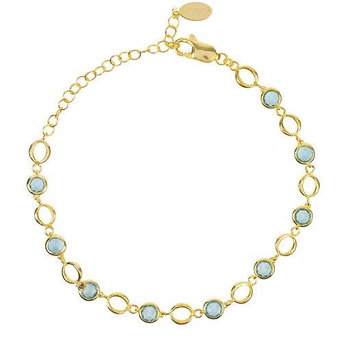 Milan Link Gemstone Bracelet Gold Blue Topaz