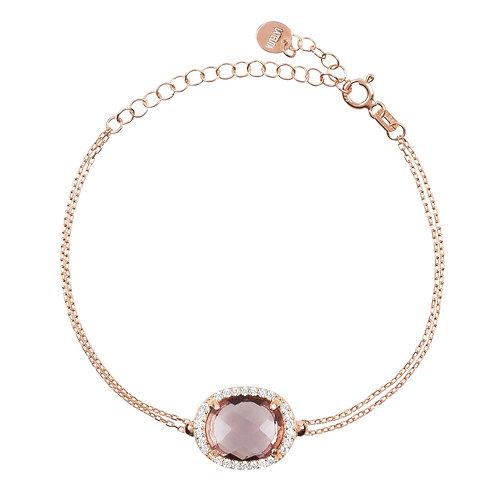 Beatrice Oval Gemstone Bracelet Rose Gold Amethyst Hydro