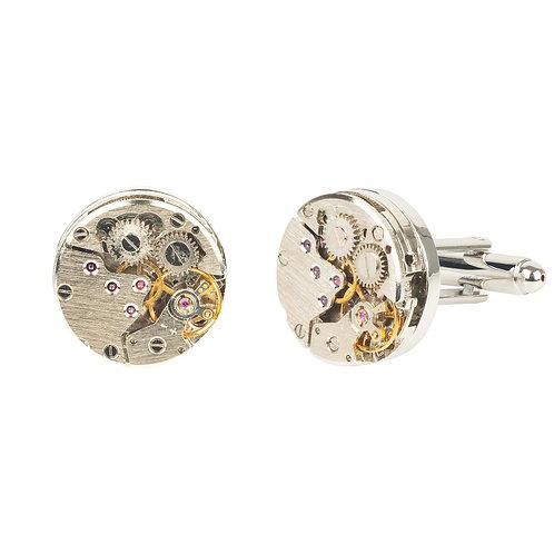 Watch Movement Cufflink Silver