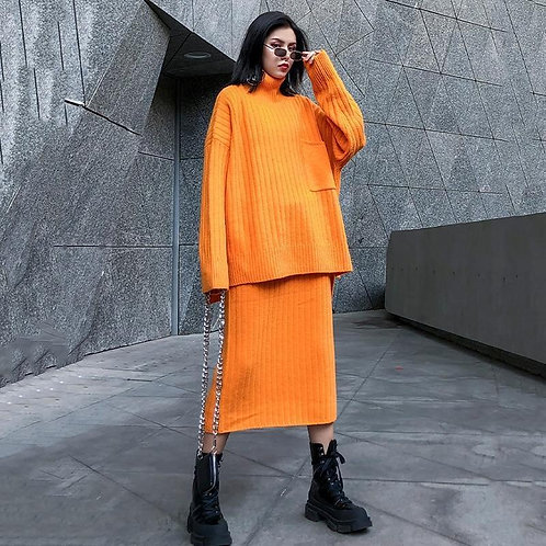Chitose Knit Sweater & Mid-Calf Skirt Set