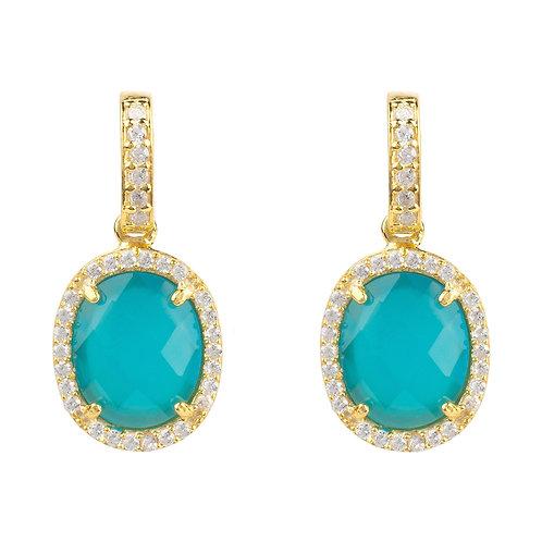 Beatrice Oval Gemstone Drop Earrings Gold Dark Blue Chalcedony