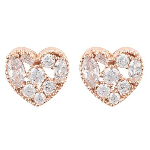Heart Sparkling Stud Earrings Rosegold