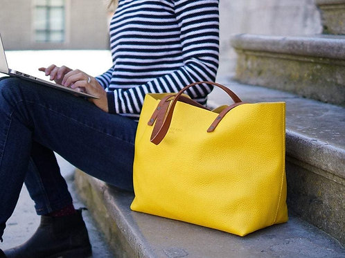 Yellow Leather Tote Bag Smooth Full Grain Leather Totebag Gift Ter