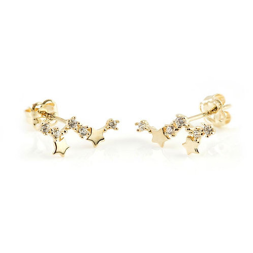 9ct Gold Constellation & Stars Stud Earrings