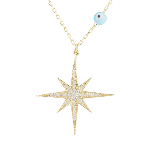 Starburst Opalite Evil Eye Necklace Gold