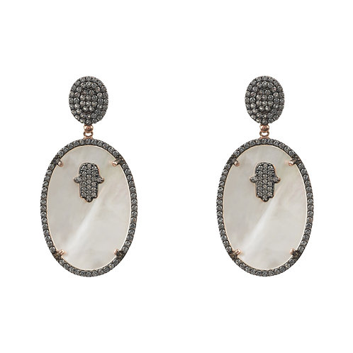Hamsa White Mother of Pearl Oval Earring