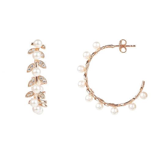 Pearl Laurel Hoop Earrings Rosegold