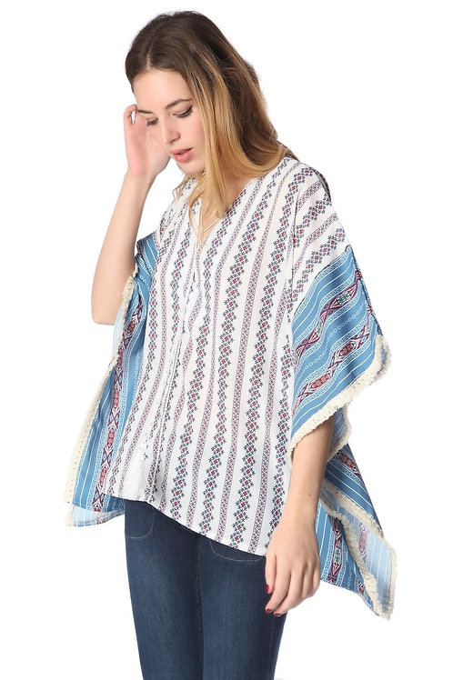 Blue Oversized Poncho Top in Tribe Print Q2-AVICII SWISS Collaboration