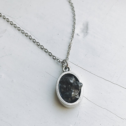 Oval Raw Meteorite Pendant Necklace in Matte Brushed Silver