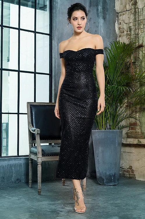 AVICII SWISS Collab with Evelyn Belluci Black Off Shoulder Dress