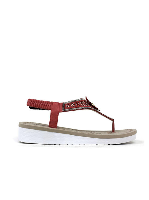 Flower White Sole Sandal Red