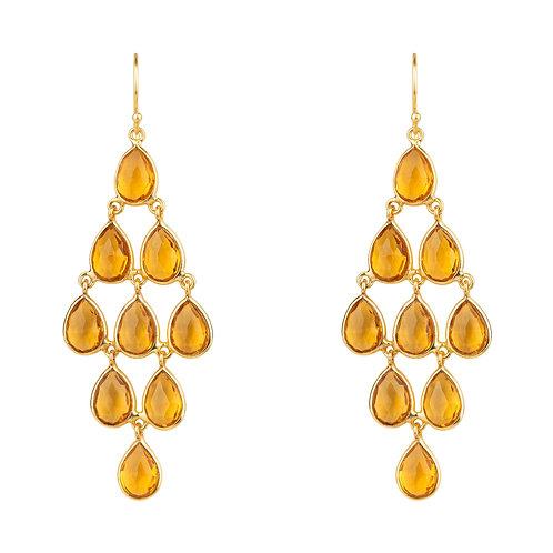 Erviola Gemstone Cascade Earrings Gold Citrine Hydro