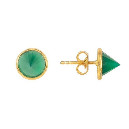 Pia Gemstone Spike Studs Gold Green Onyx