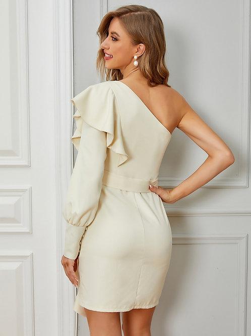 AVICII SWISS One Shoulder Flounce Trim Belted Dress