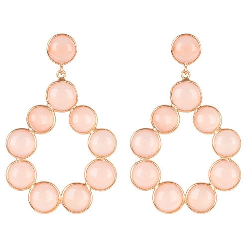 Hatun Gemstone Statement Earrings Rose Gold Rose Quartz